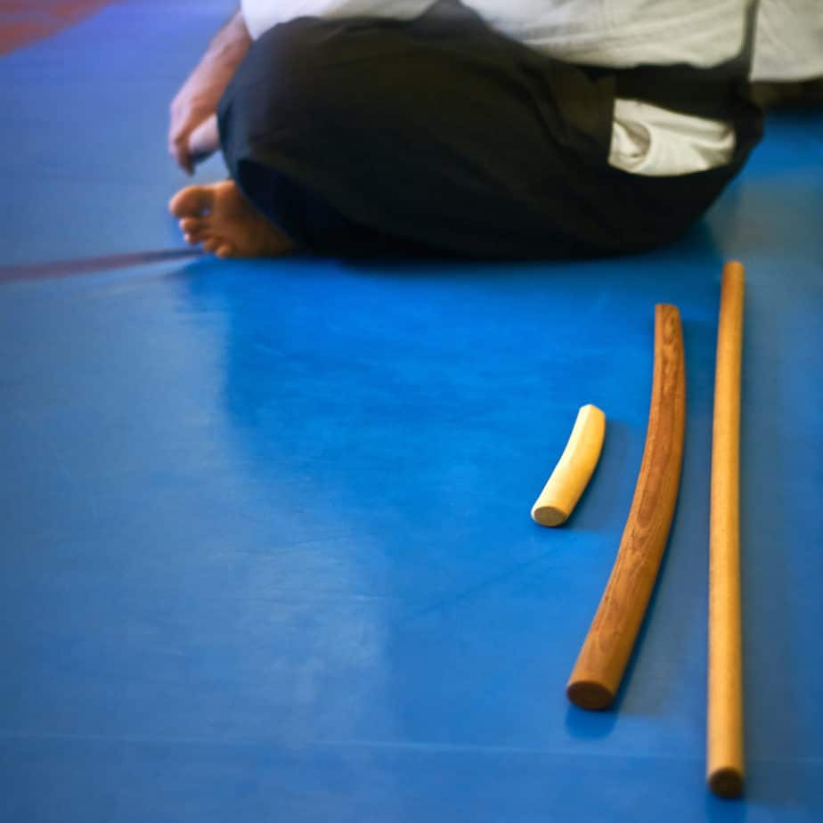 Aikido. Tanto, bokken, and jo