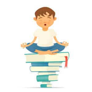 Illustration with young yoga meditation boy siting on books