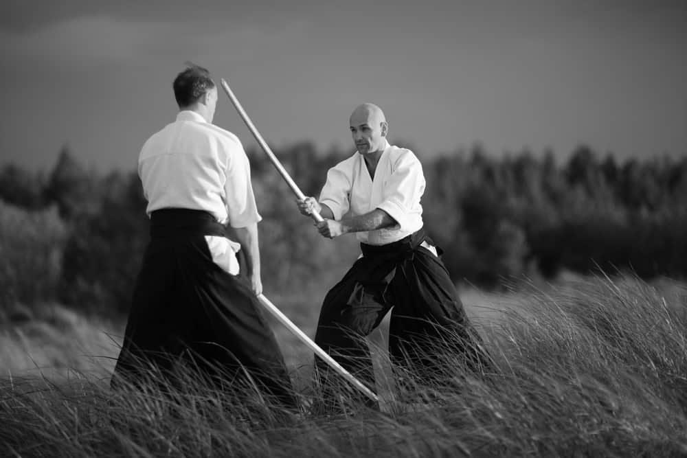Japanese martial arts practitioners outside, monochrome aikido