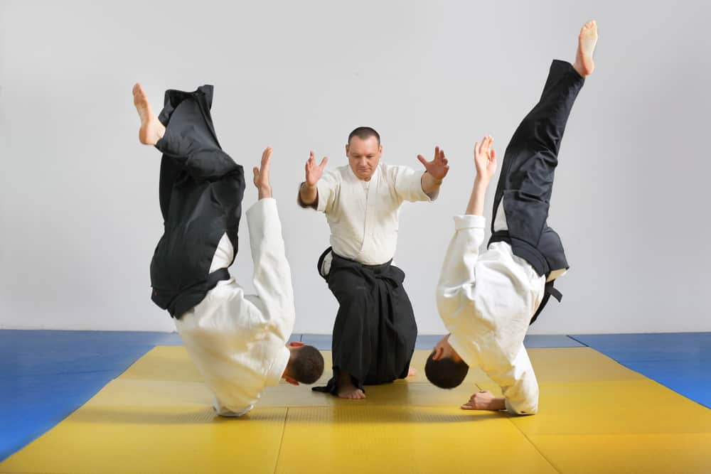 Martial art of Aikido. Demonstration of Aikido techniques