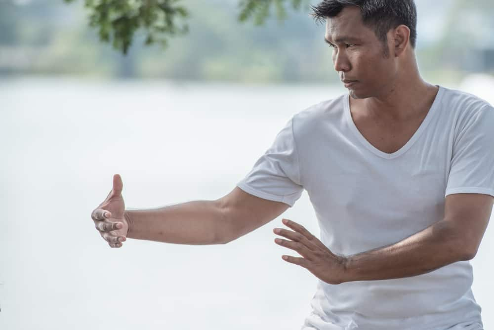 man practice traditional Chinese martial arts Tai Chi fighting