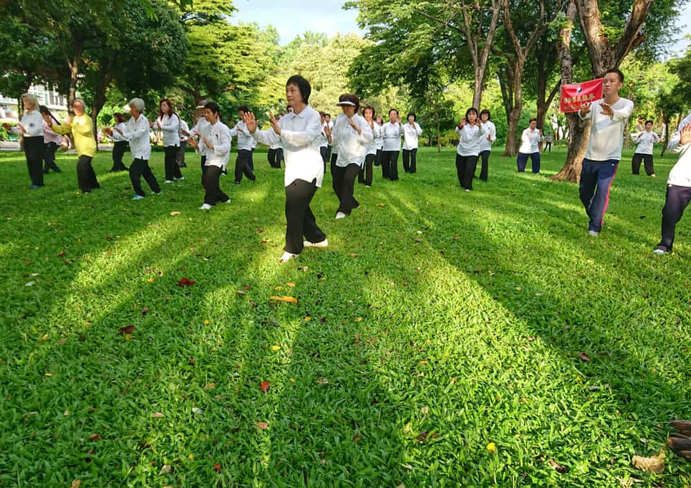 people exercise Taichi in the Park