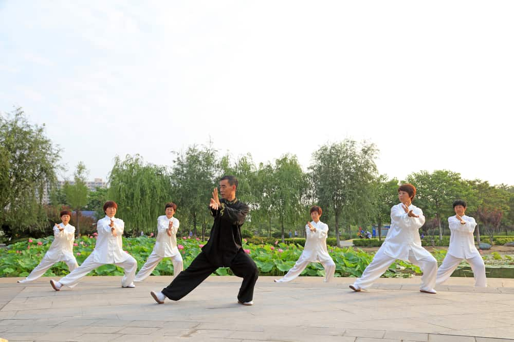 people practicing taichi on Luannan county Hebei China